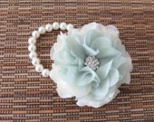 Wrist Corsage, Chiffon Flower Corsage (Pastel Green), bridal Corsage, bridesmaid Corsages