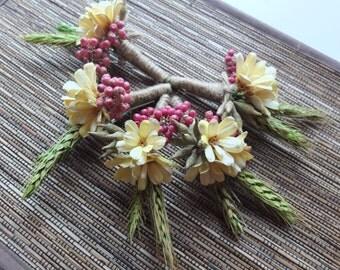 Rustic Boutonniere, Blush Yellow Flower & Wheat Boutonniere, groomsman Boutonniere