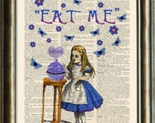 Alice in Wonderland  EAT ME vintage book page print on a page from a late 1800s Dictionary