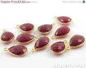 SALE Dyed Ruby, Bezel Baby Pears Shape Gemstone Component, Gold Vermeil,  14x20mm 1 Piece, (BZC7563)