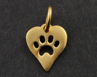 24K Gold Vermeil Over Sterling Silver Tiny Heart Charm w/ Paw Print / Pendant w/ Closed Jump Ring, Jewelry Component Finding. (VM/CH7/CR41)