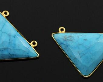 Natural TURQUOISE Fancy Bezel Component, Gold Vermeil,   22x33mm, 1 Piece, (TRQFNCY-B)