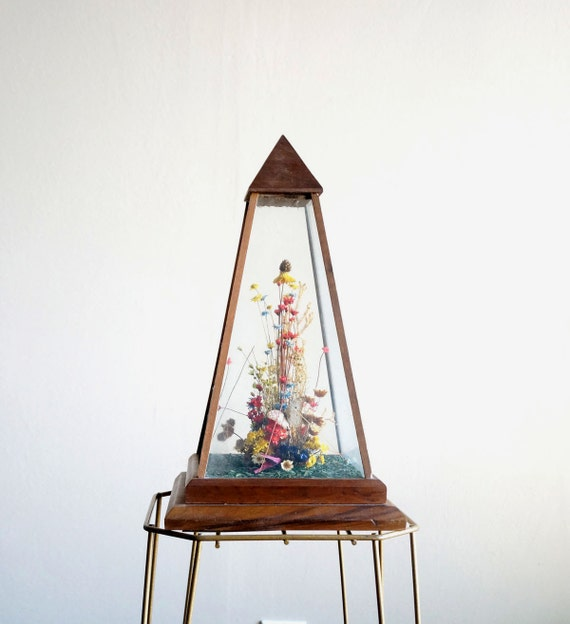 Vintage Glass Dried Flower Terrarium Pyramid