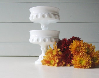 Milk Glass Compotes, Bowls,  Indiana Glass, Kings Crown, Set of Two Candy Dishes