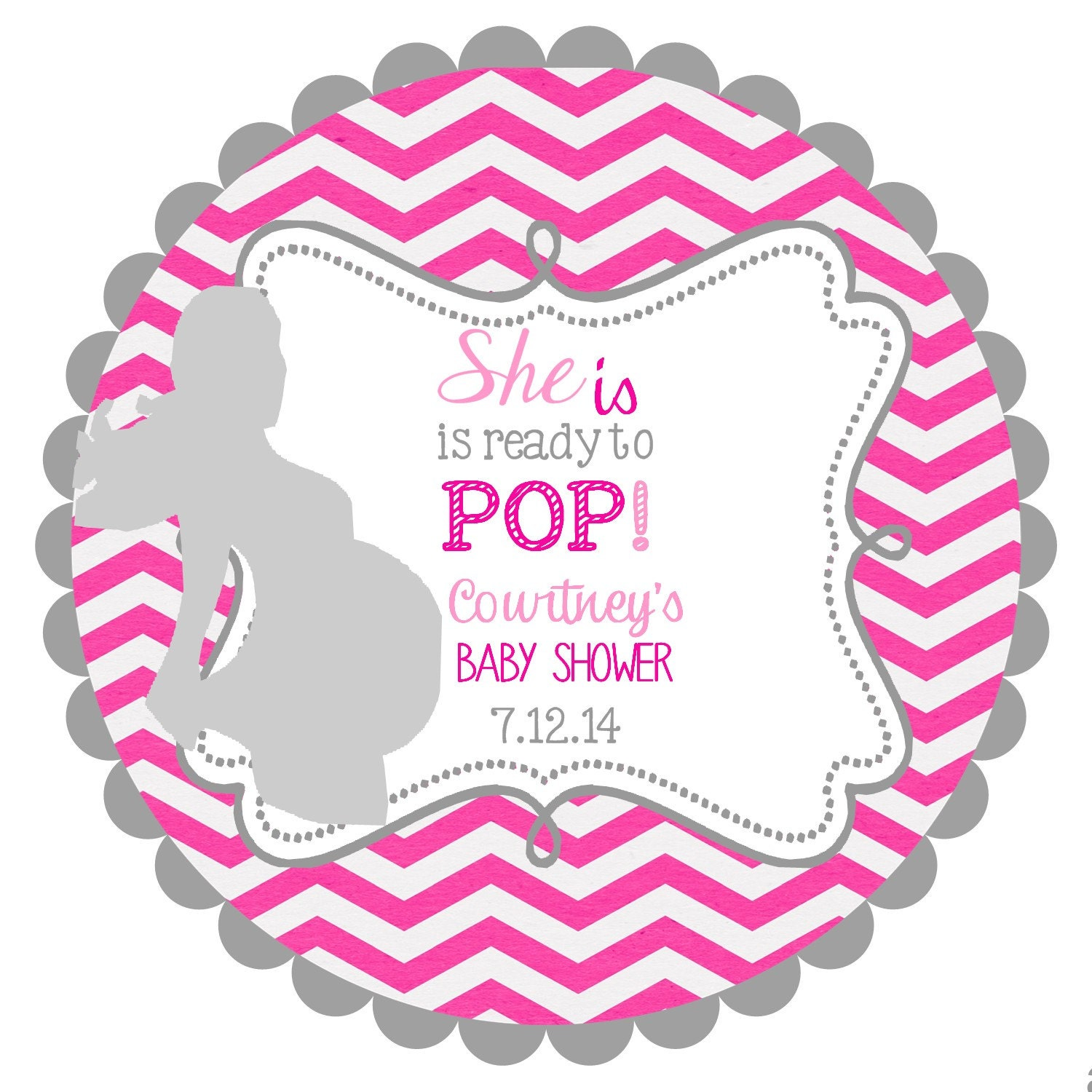 ready to pop labels stickers for baby shower by noteablechic