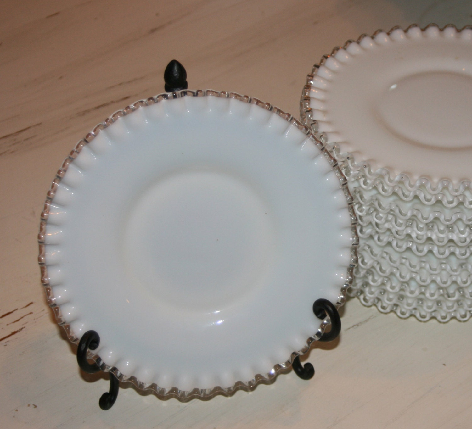 Vintage white milk glass ribbon dessert plates by cadecorating