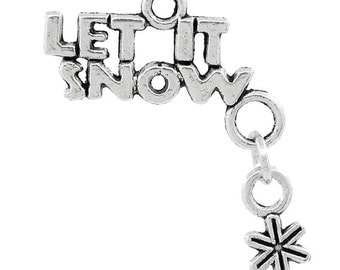 """25 Pieces Christmas Snowflake Antique Silver """"LET IT SNOW""""  Charms"""