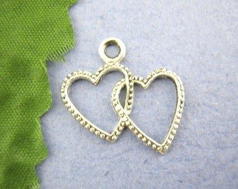 5 pieces Antique Silver Double Heart Charms
