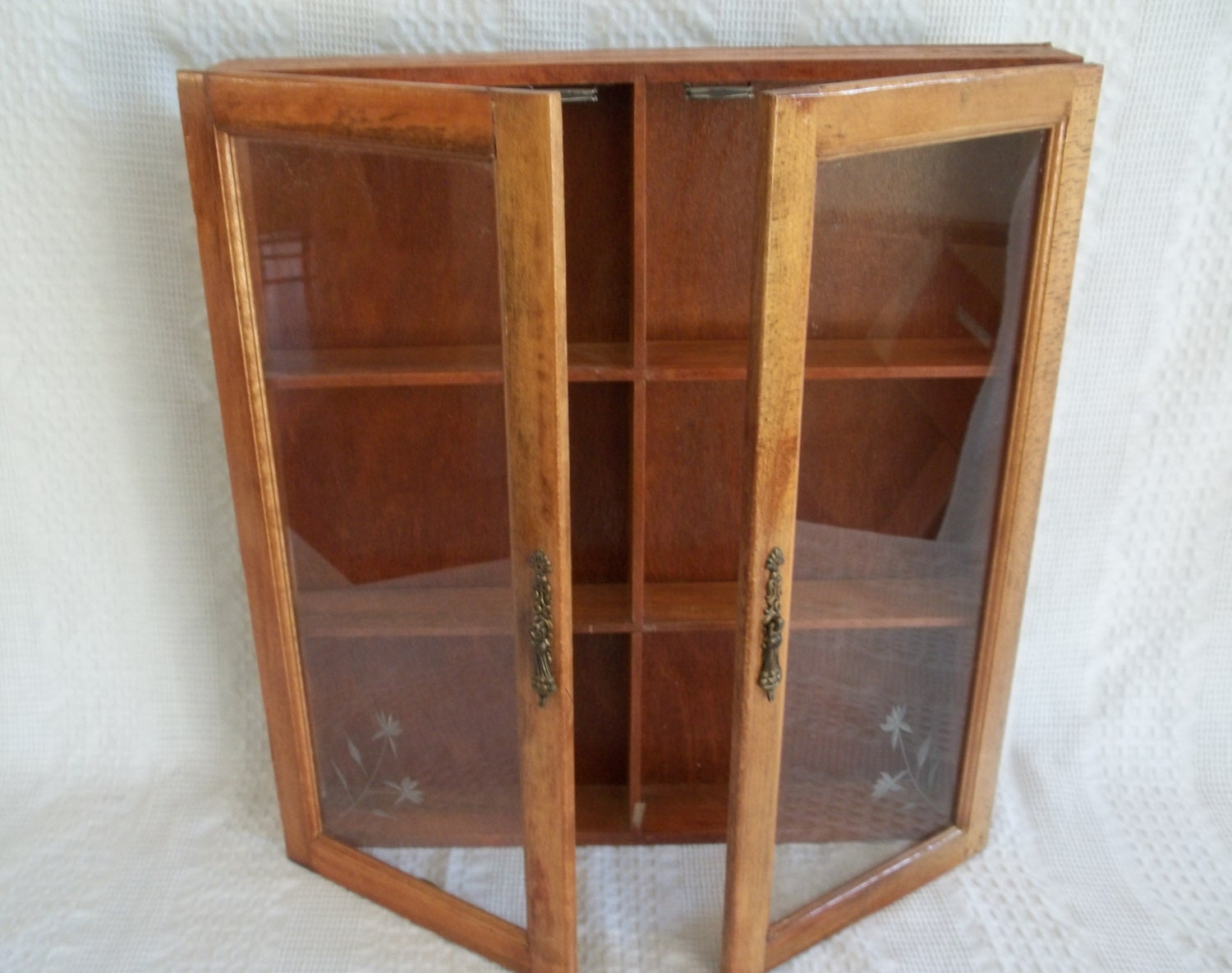 Vintage Wooden Wood Wall Display Cabinet Apothecary Spice Rack