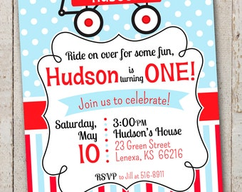 Red Wagon Birthday Invitation // Little Red Wagon Party // Printable Invitation