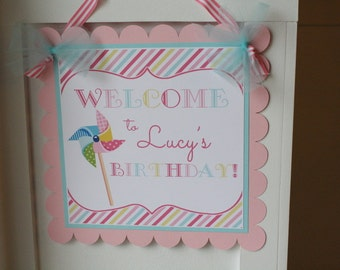 Pinwheel Birthday Party Door Sign, Pinwheel Party Door Decoration