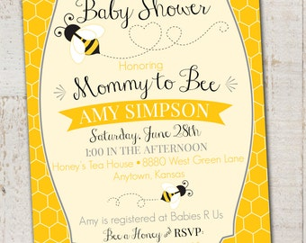 Bumble Bee Baby Shower Invitation, Printable Mommy to Bee Invite, DIY Digital Bee Baby Shower Invite