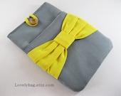 SUPER SALE - Gray with Yellow Bow iPad mini Sleeve, iPad mini Case, iPad mini Cover, Galaxy Tab / Note 8 inch Custom Tablet Case, Kindle