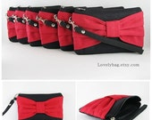 SUPER SALE - Set of 7 Black with Red Bow Clutches - Bridal Clutches, Bridesmaid Clutch, Bridesmaid Wristlet, Wedding Gift - Made To Order