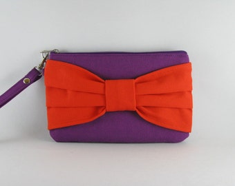 SUPER SALE - Eggplant Purple with Orange Bow Clutch - iPhone 5 Wallet, iPhone Wristlet, Cell Phone Wristlet, Cosmetic Bag, Zipper Pouch