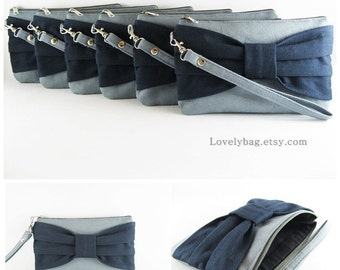 SUPER SALE - Set of 6 Wedding Clutches, Bridal Clutches, Bridesmaids Clutches / Gray with Navy Bow Clutches - Made To Order