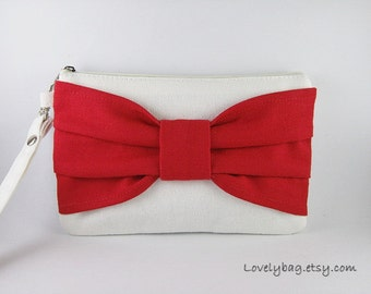 SUPER SALE - Ivory with Red Bow Clutch - iPhone 5 Wallet, iPhone Wristlet, Cell Phone Wristlet, Cosmetic Bag,Zipper Pouch - Made To Order