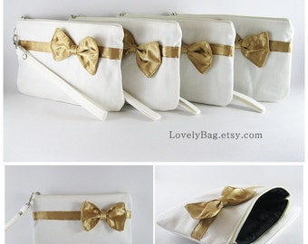 SUPER SALE - Set of 5 Ivory with Little Gold Bow Clutches - Bridal Clutch, Bridesmaid Wristlet, Wedding Gift - Made To Order