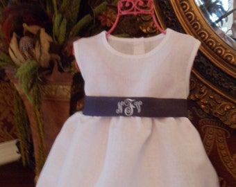 Nautical Baby and Toddler Girl White Linen Dress with Hemstitching Monogrammed Great for Easter