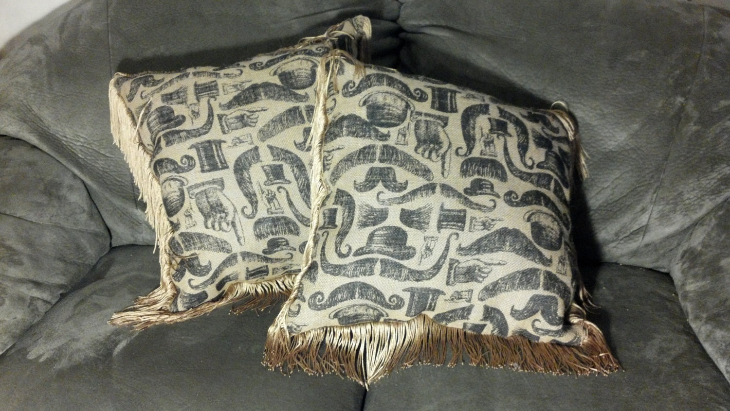 Steampunk Victorian Burlap Throw Pillows: by FancifulFabrications