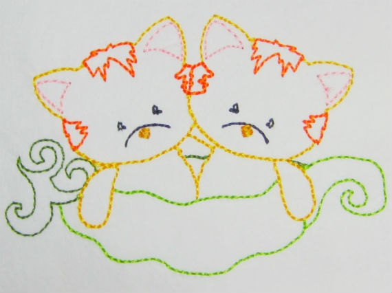 Knitting Art 4m : Color work kitties in a peapod machine embroidery from