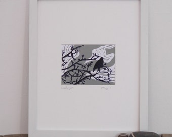 Woodpigeon lino print