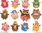 Bears and Friends clip art for Personal and Commercial use - INSTANT DOWNLOAD