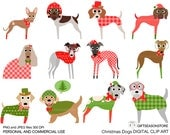 Christmas dog digital clip art part 2 for Personal and Commercial use - INSTANT DOWNLOAD