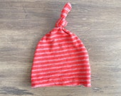 Orange and gray Striped Newborn Boy Hat. Hospital Baby Boy. 0-3 Month