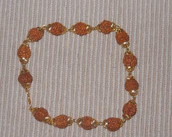 5 Mukhi Cosmic Energy Nepal Rudraksha Bracelet - Energized - Gold Color Wire