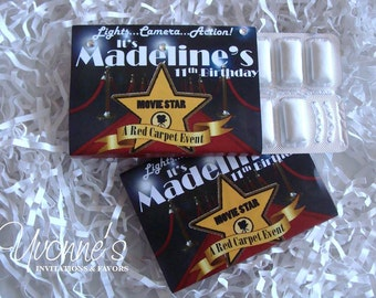 Hollywood Red Carpet Gum Favors for Sweet Sixteen, Birthday and Bar or Bat Mitzvah