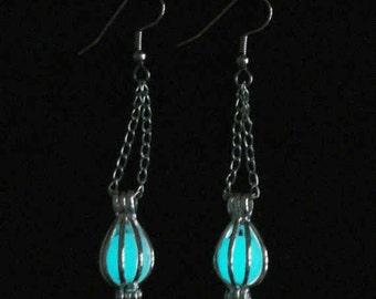 Enchanted Caged Full Moon Earrings Glowing Orb Earrings Gunmetal And White (glows aqua blue)