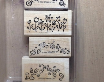 Itty Bitty Borders WM Rubber Stamp Set Stampin Up 2002 ladybugs holly flowers leaves seasons winter spring summer fall