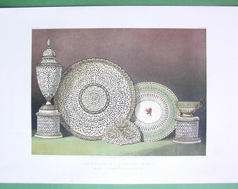 PORCELAIN Perforated Pottery English Design - 1862 Color Litho Print