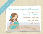 Little Mermaid, Pool Party Printable Birthday Invitation - Digital Download  - your message in the sand
