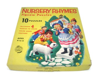 10 Nursery Rhyme Puzzles, Vintage Childrens Coloring Puzzles, 1954 Puzzle Set, Grosset & Dunlap, Tray Puzzles, Nursery Decor