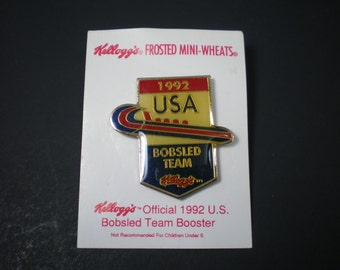 Set of 3 1992 Olympics Pins, USA Bobsled Team, Olympic Souvenir, Kellogg's Advertising Premium, 3 Enamel Pins