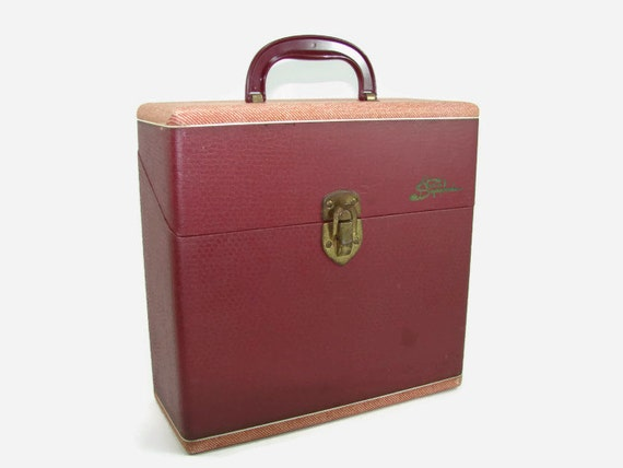 Symphonic Wood Record Storage Case Maroon Cover 78 Rpm