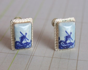 Vintage Dutch Windmill Delft Screwback Earring in 855 Sterling Silver, Netherlands Dutch Earring, Vintage Delft 1970s Screwback Earrings