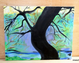 Vintage Mystic Black Tree Forest Unknwn Artist Oil-Canvas, Fantasy Impression Black Blue Green Night Tree Scary Night Oil Painting 1980s