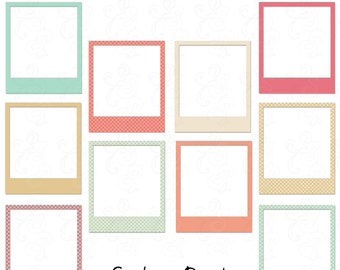 Clip Art Photo Frames in Blues, Pinks, Creams: Printable, .PNG