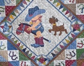 Giddy Up Its A Western Rodeo - Adorable Crib or Toddler Quilt for a Boy or Twins From Northcott & Janet Selck