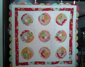 Scrumptious by Moda - Lovely Pieced with Scalloped Edges - Crib, Toddler, Lap Size or Play Mat Using Designer Quilt Fabrics