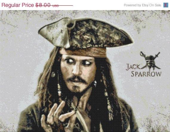 "ON SALE INSTANT Download - Jack Sparrow alias Johnny Depp - 17.86"" x 12.86"" - Cross Stitch Pattern Pdf C167"