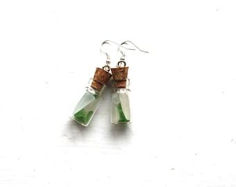 sea glass vial pendant earrings beach glass earings pendants