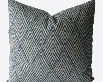Decorative Chevron Indigo Blue, Beige, Zig Zag, 18x18, 20x20, 22x22 or Lumbar Throw Pillow