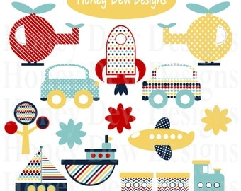 Instant Download - Clipart Package 207 - Red, Blue and Yellow Transportation Clipart