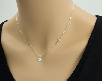 Small Sideways Cross with initial  Necklace, Sterling Silver, Celebrity Inspired