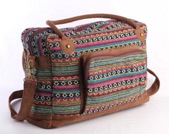 Multicolor Native American Large Weekender Bag, Hipster College Bag, Holiday Bag Navajo Tribal Print
