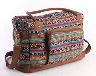 Multicolor Native American Large Weekender Bag, Hipster College Bag, Holiday Bag Navajo Tribal Print